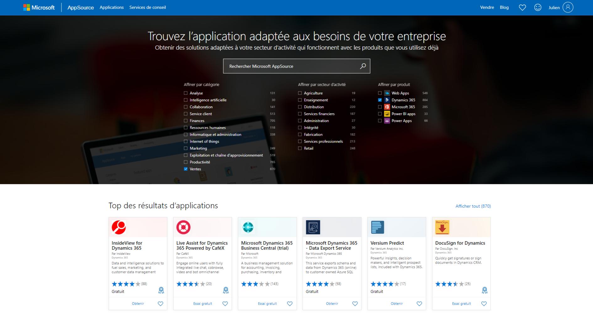 Appsource Microsoft pour Dynamics 365 Sales